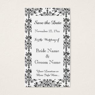 Daisy Damask Black White Custom Save the Date Card
