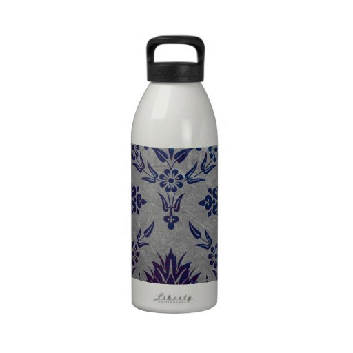 DAISY DAMASK, BRUSHED METAL in BLUE and SILVER Reusable Water Bottle