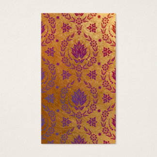Daisy Damask, Brushed Metal in Rose Gold & Purple Business Card
