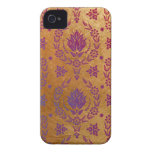 Daisy Damask, Brushed Metal in Rose Gold & Purple iPhone 4 Case