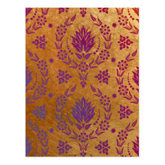 Daisy Damask, Brushed Metal in Rose Gold & Purple Postcard