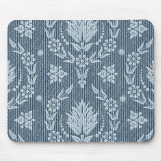 Daisy Damask, Denim in Shades of Blue & White Mouse Pads