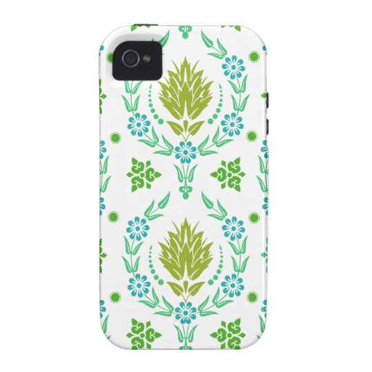 Daisy Damask, Garden Colors in Olive and Teal Vibe iPhone 4 Cover