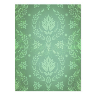Daisy Damask, Ghostly in Shades of Green and Mint Postcard