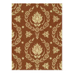 Daisy Damask, Leather in Brown and Gold Postcard