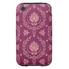 Daisy Damask, Leather In Plum And Rose Gold Tough Iphone 3 Cover at Zazzle