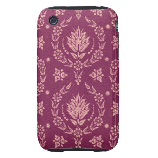 Daisy Damask, Leather in Plum and Rose Gold Tough iPhone 3 Cover