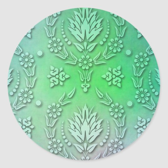 Daisy Damask, WATERCOLOR Classic Round Sticker