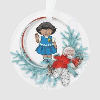 Daisy Dark Skin Blue Pine Wreath Ornament