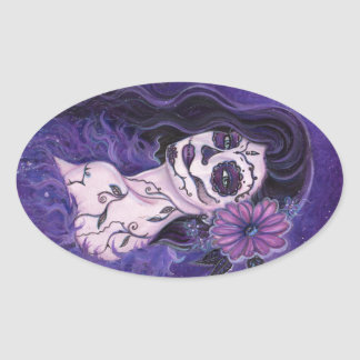 Daisy Day of the Dead glamour girl By Renee Oval Sticker