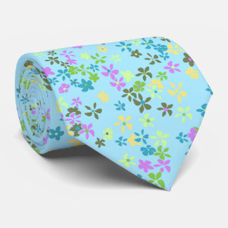 Daisy Dot Floral Aqua Two-sidedPrinted Tie