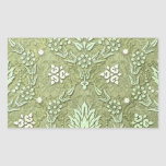 Daisy Double Damask in Shades of Olive Green Rectangle Sticker