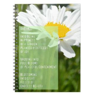 Daisy Dream Poem Inspirational Notebook