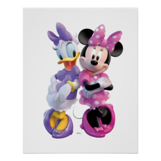 Daisy Duck And Minnie leaning against each other zazzle_print