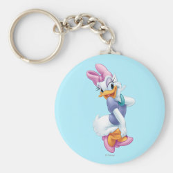 Basic Button Keychain with Daisy Duck design