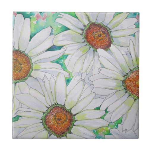 Daisy Field Watercolor Painting Ceramic Tile