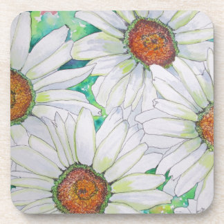 Daisy Field Watercolor Painting Drink Coaster