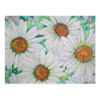 Daisy Field Watercolor Painting Postcard