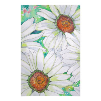 Daisy Field Watercolor Painting Customized Stationery