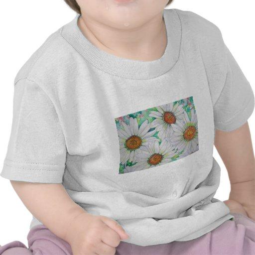 Daisy Field Watercolor Painting Tee Shirts