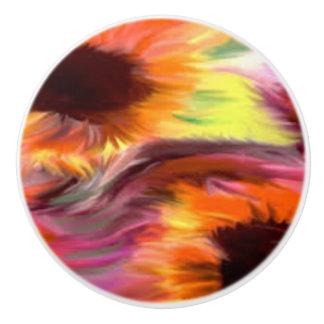 Daisy Fkower Water Color Ceramic Knob