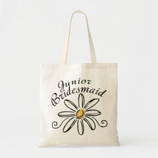 Daisy Floral Jr. Bridesmaid Canvas Bags