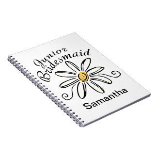 Daisy Floral Jr. Bridesmaid Spiral Notebook