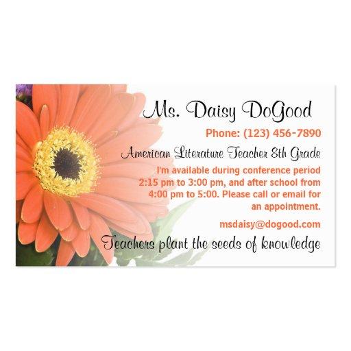 Daisy Floral Peachy Teacher Info Business Card