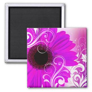 """Daisy Flourish"" by Cheryl Daniels (fuschia) 2 Inch Square Magnet"