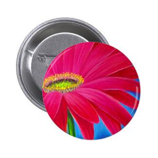 DAISY FLOWER ART - MULTI 2 INCH ROUND BUTTON