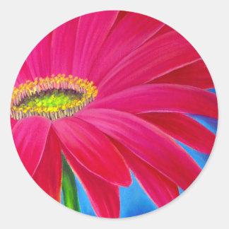 DAISY FLOWER ART - MULTI CLASSIC ROUND STICKER