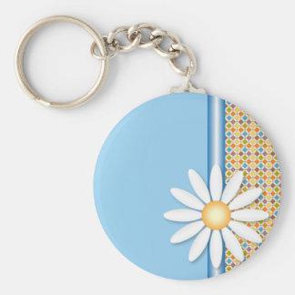 Daisy flower basic round button keychain