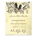Daisy Flower Branch Vintage Birds Save the Date Custom Invites