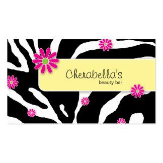 Daisy Flower Business Card Zebra Yellow BWP
