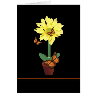 Daisy Flower Butterfly Card