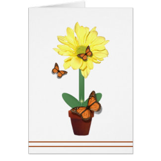 Daisy Flower Butterfly Card