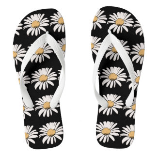 Daisy (Flower) - Custom Adult, Wide Straps Flip Flops