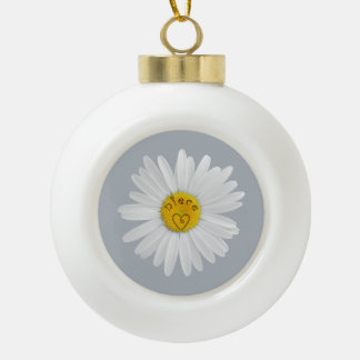 Daisy Flower For Niece Art Customize Background Ceramic Ball Christmas Ornament