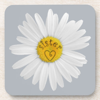 Daisy Flower For Sister Art Customize Background Beverage Coaster