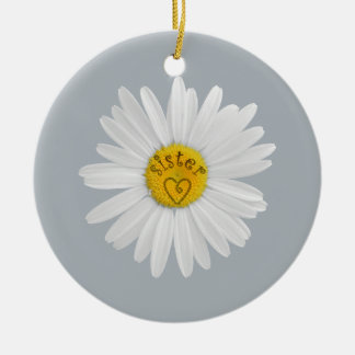 Daisy Flower For Sister Art Customize Background Ceramic Ornament