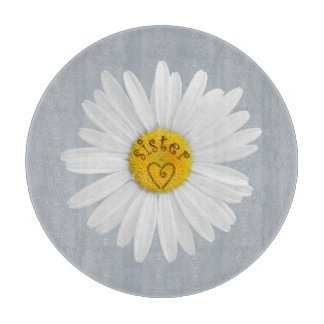 Daisy Flower For Sister Art Customize Background Cutting Board