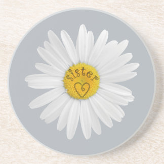 Daisy Flower For Sister Art Customize Background Drink Coaster