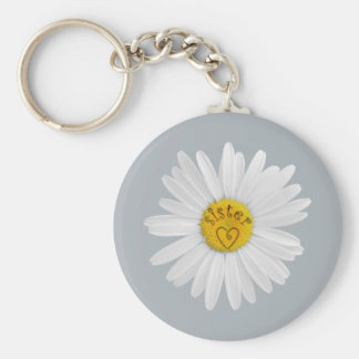 Daisy Flower For Sister Art Customize Background Keychain