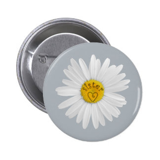 Daisy Flower For Sister Art Customize Background Pinback Button