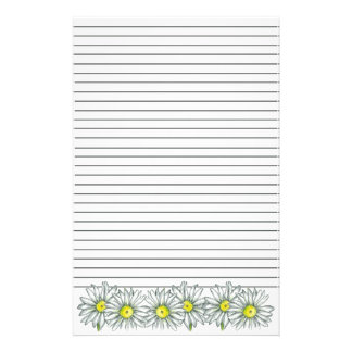 Daisy Flower Gray Stripe Lined Stationery
