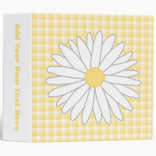 Daisy Flower in Yellow and White. 3 Ring Binders