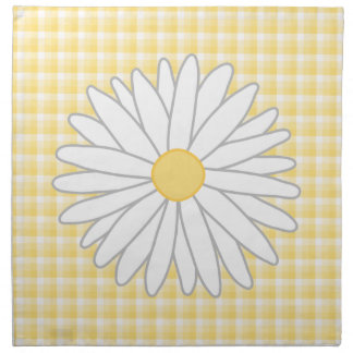 Daisy Flower in Yellow and White. Cloth Napkins