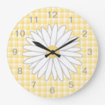 Daisy Flower in Yellow and White. Round Wall Clock
