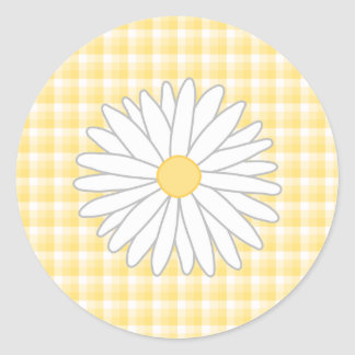 Daisy Flower in Yellow and White. Round Stickers