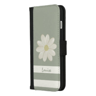 Daisy Flower on Green Sage Stripes iPhone 8/7 Plus Wallet Case